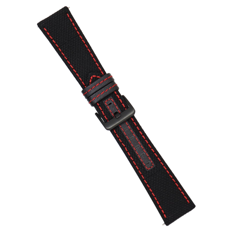 Strap - Black Kevlar Strap - Red Stitching - 24mm - Bristol Aviator Watches, Bristol Watch Company, www.bristolwatchcompany.com