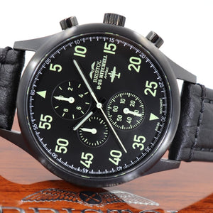 B-25 Mitchell - Black Finish, Black Leather Band - Bristol Aviator Watches, Bristol Watch Company, www.bristolwatchcompany.com