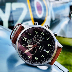 Spitfire - Stainless Steel, Brush Finish, Khaki Canvas Band - Bristol Aviator Watches, Bristol Watch Company, www.bristolwatchcompany.com