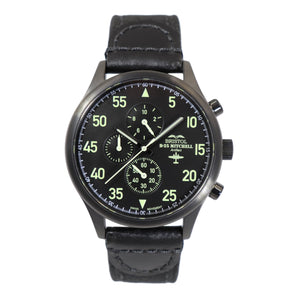 B-25 Mitchell - Black Finish, Black Canvas Band - Bristol Aviator Watches, Bristol Watch Company, www.bristolwatchcompany.com