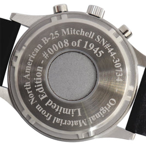 B-25 Mitchell - Stainless Steel, Brush Finish, Black Leather Band - Bristol Aviator Watches, Bristol Watch Company, www.bristolwatchcompany.com