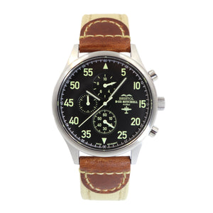 B-25 Mitchell - Stainless Steel, Brush Finish, Khaki Canvas Band - Bristol Aviator Watches, Bristol Watch Company, www.bristolwatchcompany.com
