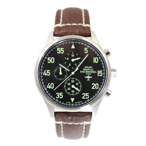 B-25 Mitchell - Stainless Steel, Brush Finish, Black Dial, Brown Leather Stitched Band - Bristol Aviator Watches, Bristol Watch Company, www.bristolwatchcompany.com