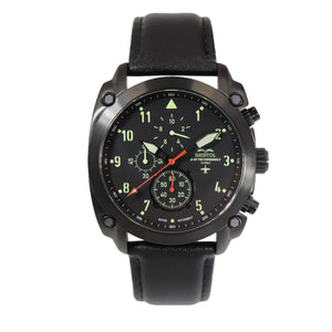 A-10 Thunderbolt - Black Finish, Leather Band - Bristol Aviator Watches, Bristol Watch Company, www.bristolwatchcompany.com