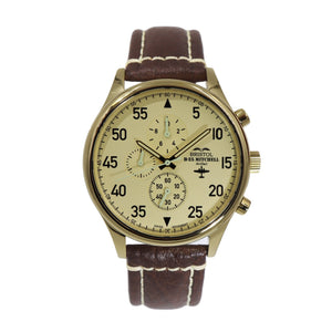 B-25 Mitchell - Gold Finish, Beige Dial, Brown Leather Band with Stitching - Bristol Aviator Watches, Bristol Watch Company, www.bristolwatchcompany.com