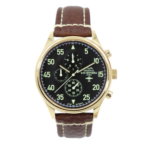 B-25 Mitchell - Gold Finish, Black Dial, Brown Leather Band with Stitching - Bristol Aviator Watches, Bristol Watch Company, www.bristolwatchcompany.com