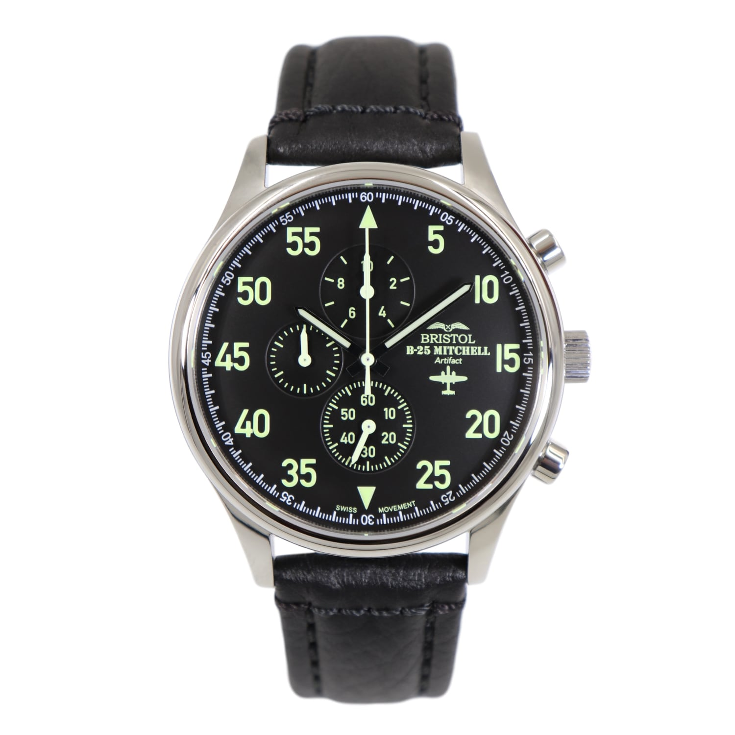 86d535aa9 Sale. B-25 Mitchell - Stainless Steel, Polished Finish, Black Leather Band  - Bristol