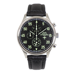 B-25 Mitchell - Stainless Steel, Polished Finish, Black Leather Band - Bristol Aviator Watches, Bristol Watch Company, www.bristolwatchcompany.com
