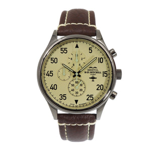 B-25 Mitchell - Stainless Steel, Polished, Beige Dial, Brown Leather Band with Stitching - Bristol Aviator Watches, Bristol Watch Company, www.bristolwatchcompany.com