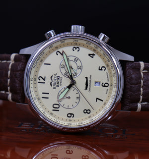 R6753 - Our Spitfire R6753 Tribute - Stainless Steel, Polished Finish, Beige Dial, Brown Leather Band