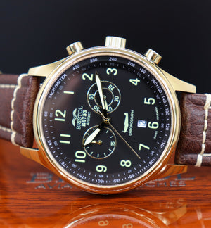 R6753 - Our Spitfire R6753 Tribute - Gold Finish - Black Dial, Brown Leather Band