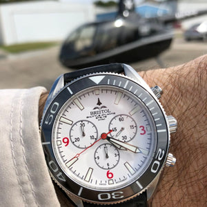 747 - Stainless Steel, White Dial - Bristol Aviator Watches, Bristol Watch Company, www.bristolwatchcompany.com