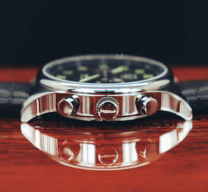 R6753 - Our Spitfire R6753 Tribute - Stainless Steel, Polished Finish, Black Leather Band