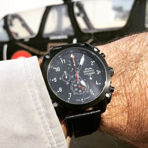 F-15 Eagle, Black Finish, Leather Band - Bristol Aviator Watches, Bristol Watch Company, www.bristolwatchcompany.com