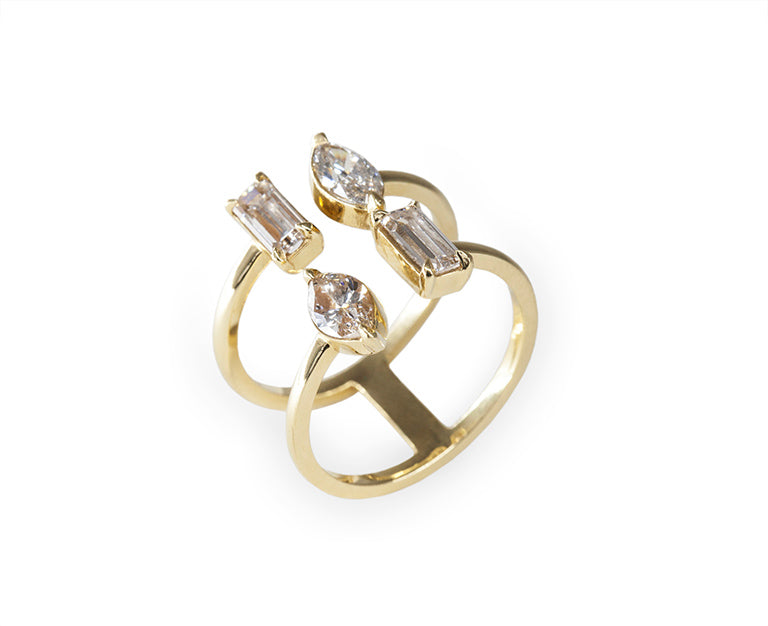 Double Mix Diamond Cuff Ring