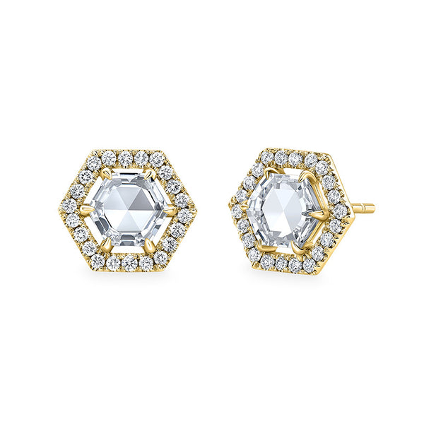 Hex Rose Halo Studs
