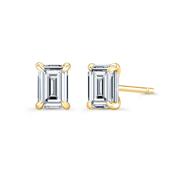Emerald 4 Prong Diamond Stud Earrings