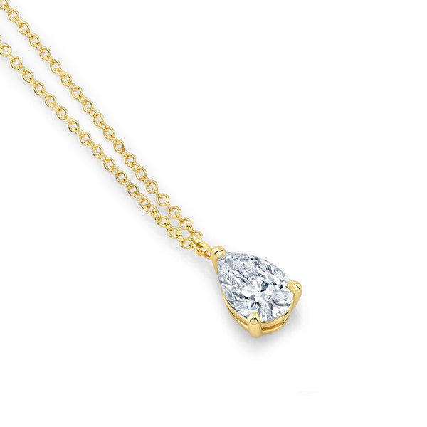 Pear 3 Prong Diamond Necklace