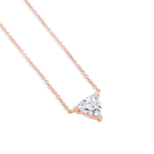Trillion 3 Prong Diamond Necklace