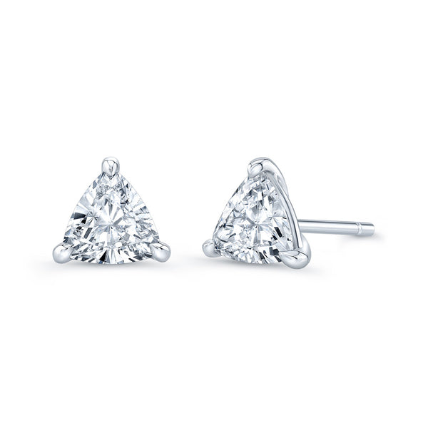 Trillion 3 Prong Diamond Stud Earrings