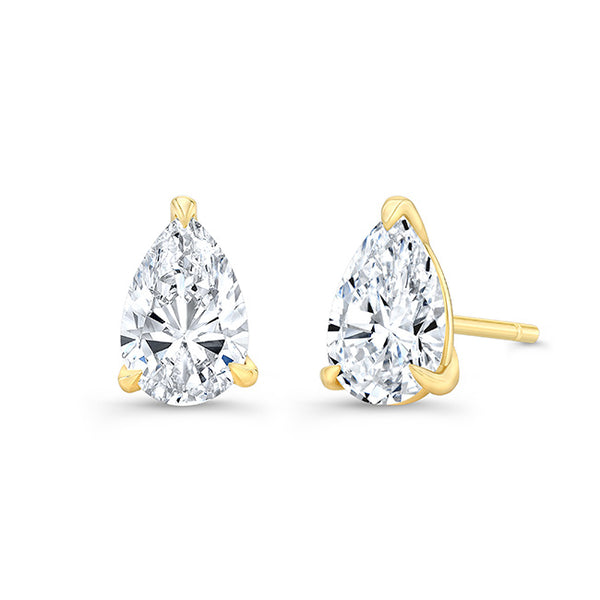 Pear 3 Prong Diamond Stud Earrings
