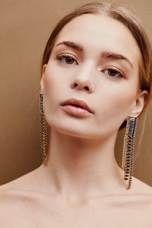 Celia Drop Earrings - Black/Gold - earrings - monday merchant