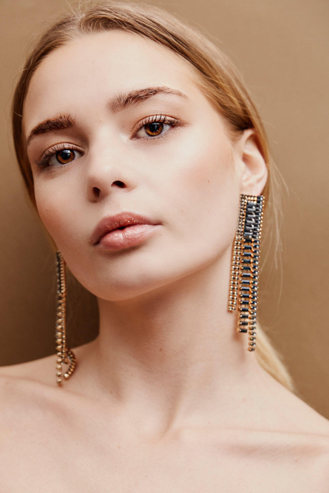 Celia Drop Earrings - Black/Gold - monday-merchant