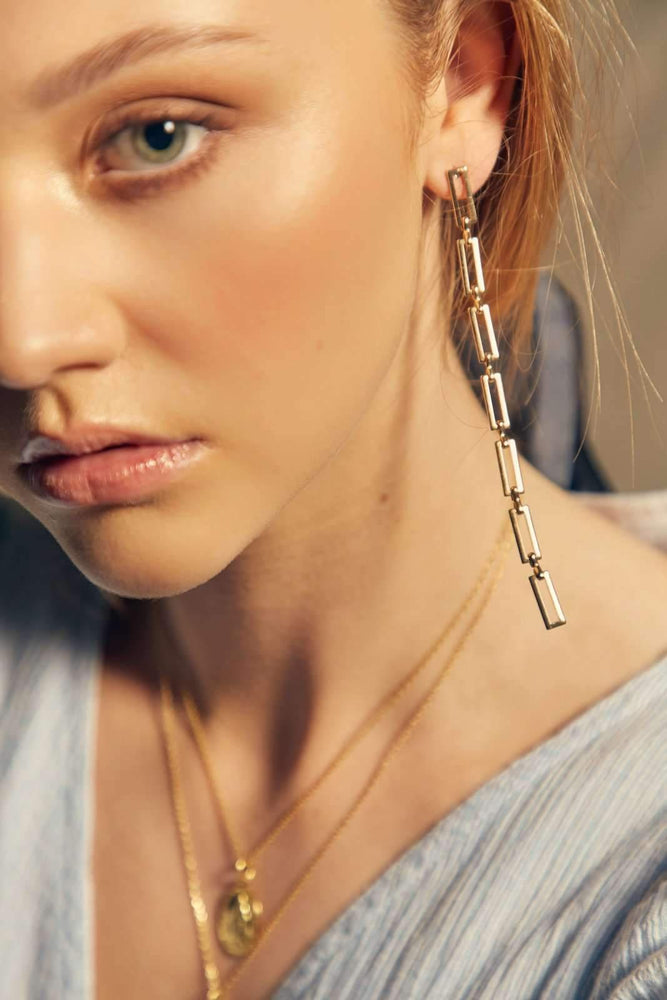 Chain Drop Earring - Gold / Silver - earrings - monday merchant