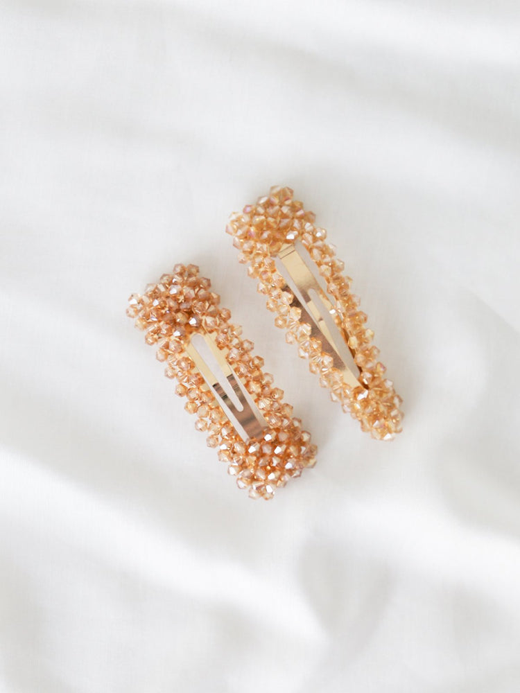 Champagne Sparkle Clips - Champagne | Black - Hair Clips - monday merchant
