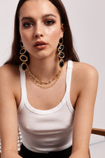 Elise Drop Earrings - Black | Multi