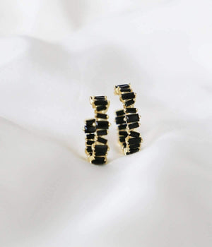Jane Hoops - Black Gem / Gold - earrings - monday merchant