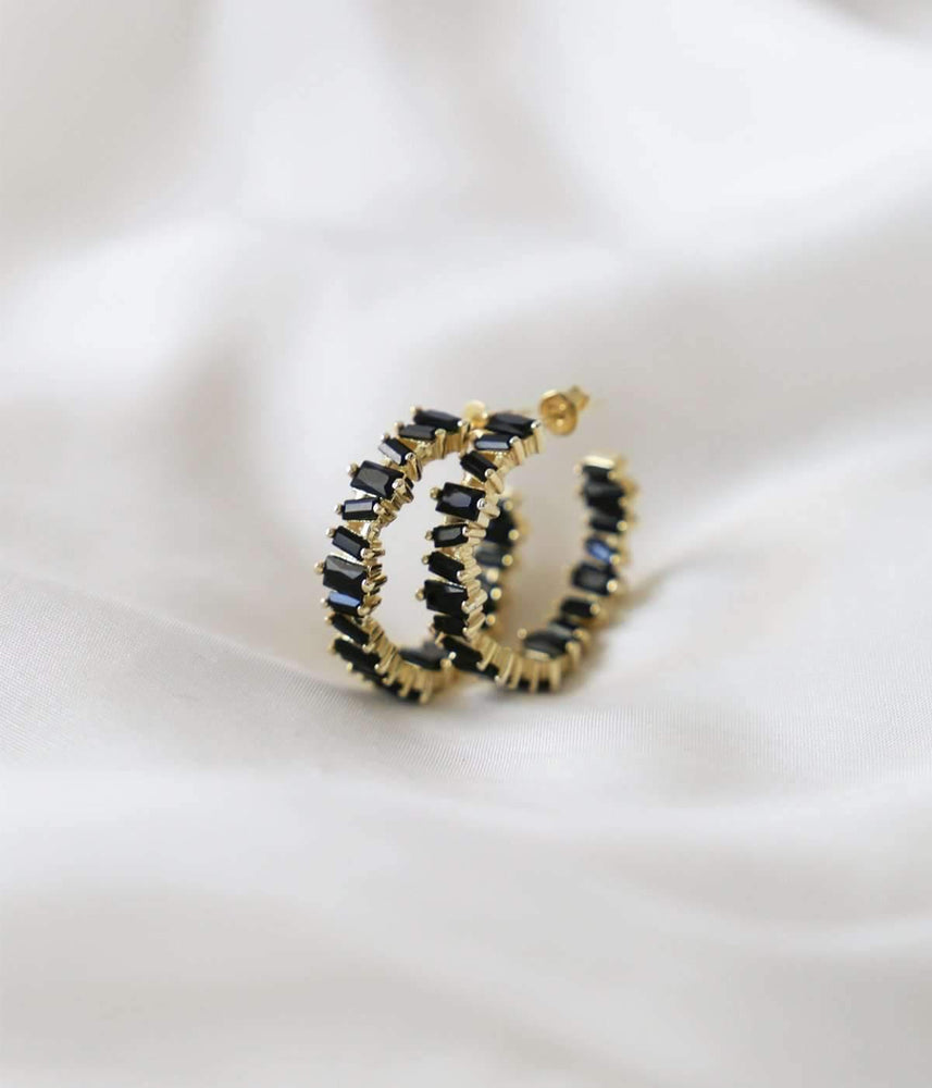 Jane Hoops - Black Gem / Gold