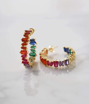 Jane Hoops - Rainbow - earrings - monday merchant