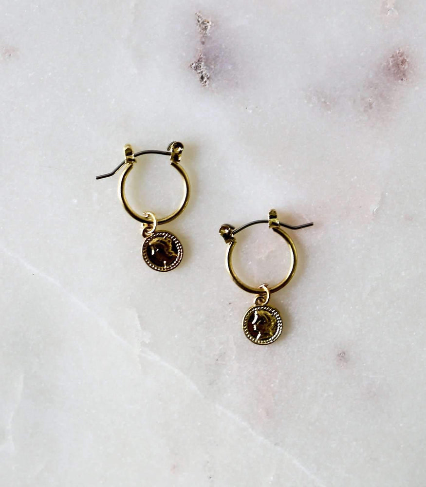 Mini Coin Hoop Earrings - earrings - monday merchant
