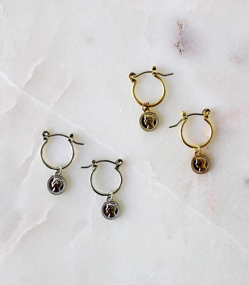 Mini Coin Hoop Earrings