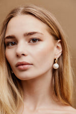 Penelope Pearl Hoops - Gold Pre-Order - earrings - monday merchant