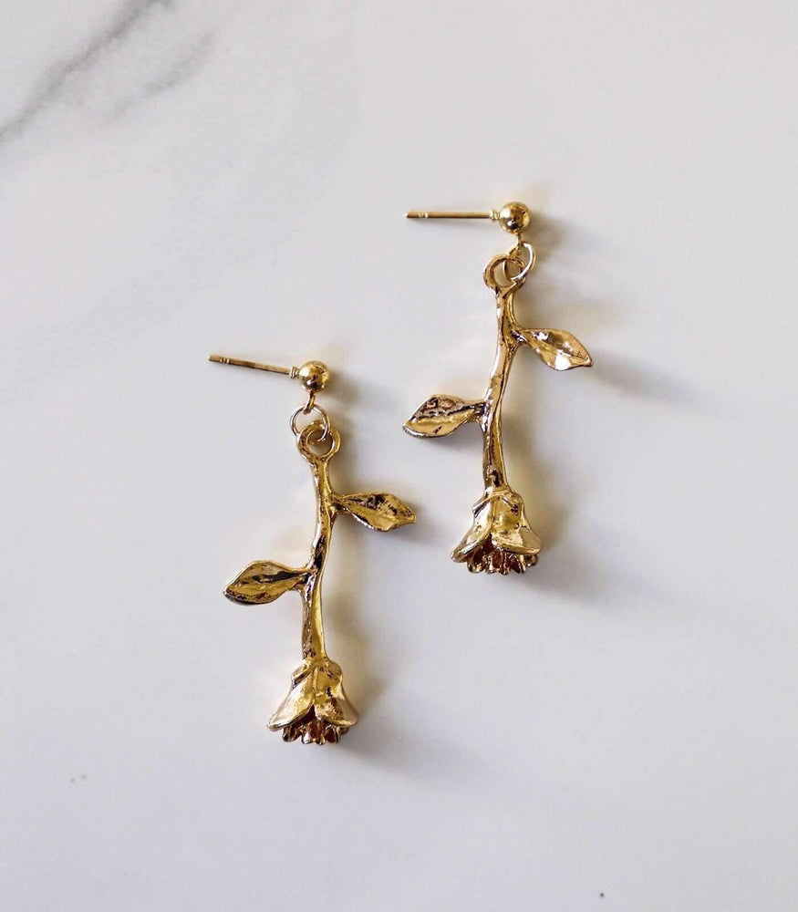 Rosa Drop Earring - Gold - earrings - monday merchant