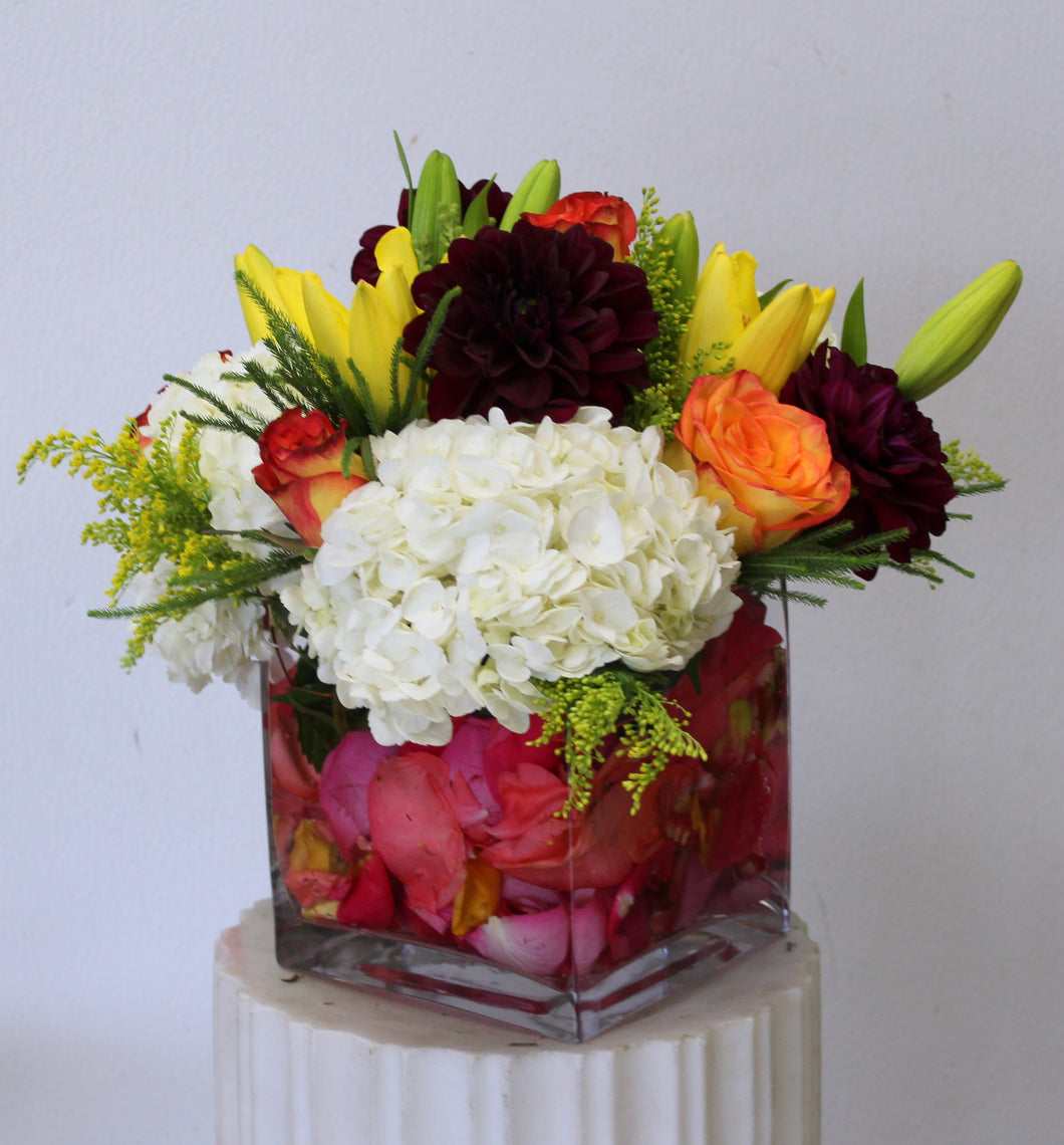 Colorful Boquet In a Square Vase