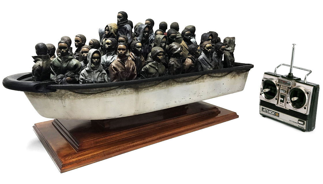 Image showing model of boat on wooden plinth