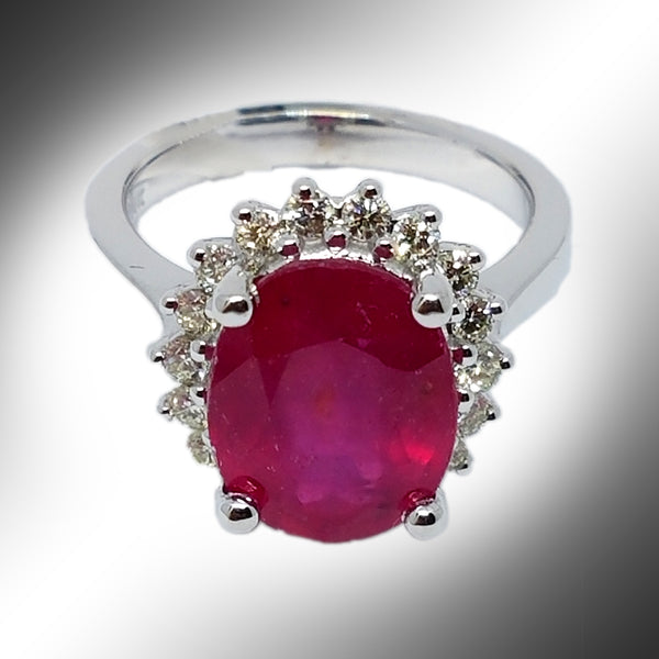 14K White Gold Diamond Haloed Pink Emerald Ring