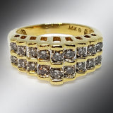 14K Yellow Gold Diamond Stairs Ring