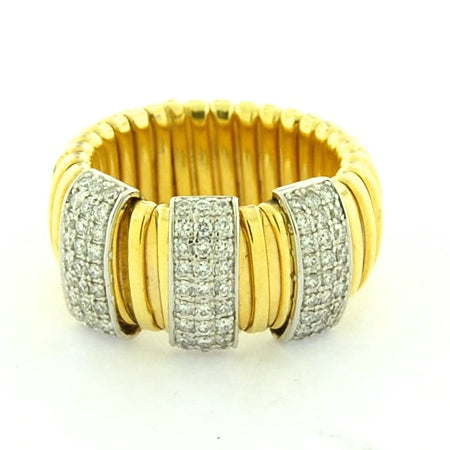 14K 3 Diamond Bars Large Goose Ring