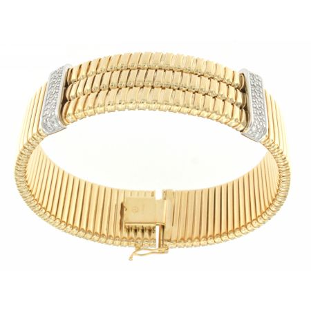 14K Yellow Gold Diamond 3 Layer Rigid Bracelet