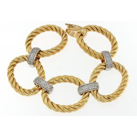 14K Yellow Gold Diamond Twisted Link Bracelets