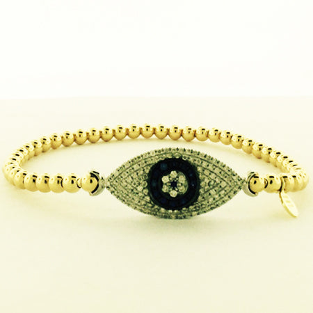 14K Yellow Gold Diamond Eye Bead Stretch Bangle