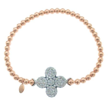 14K Diamond Flower Bead Stretch Bangle
