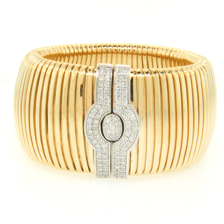 14K Yellow Gold Diamond Stripe Goose Bracelet