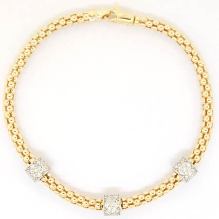 14K Yellow Gold Diamond Mesmerize 3 Cylinder Bracelet