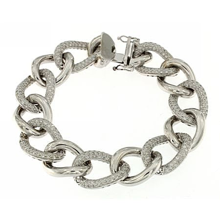 14K White Gold Diamond Shimmer Linked Bracelet