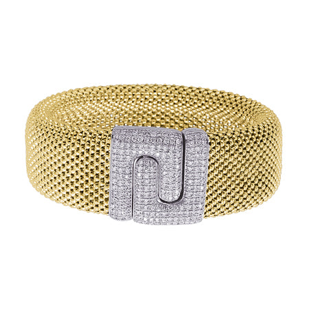 14K Yellow Gold Diamond Soft Mesh Buckle Small Bracelet